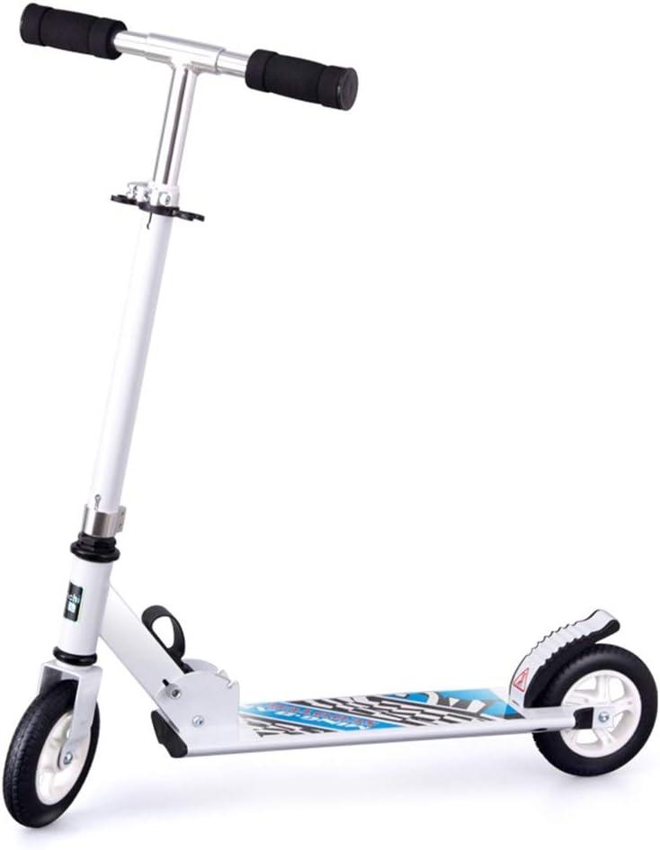 LJHBC Patinete Scooter Junior Niños Mayores de 5 años. Aleación de Aluminio Ligero Ensanchando el Pedal Fácil de Plegar Ajuste de Altura de 3 velocidades Peso del rodamiento 80kg Blanco Negro