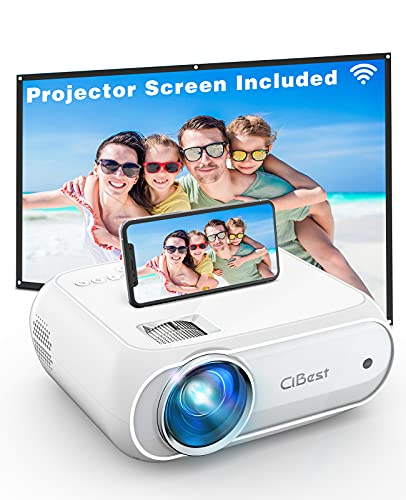 Mini Projector, CiBest 6000L Movie Projector with Wireless Display Function, 1080p for FHD Home Theater, Compatible with iPhone, Android, TV Stick, Games Console, Comes with Projector Screen