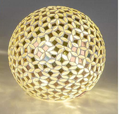 Formano - LED Lampe Outdoor - Mosaik-Lampe aus Glas - Kugel-Lampe Gold/Schwarz mit Lichterkette - Lichtkugel 15cm Groß