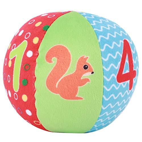 DERCLIVE Bola de tela de felpa para bebé, suave, multicolor, animal, juguete educativo (figura)