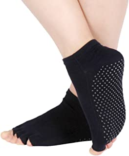 YiyiLai Women Cotton Toeless Anti Skid Grips Yoga Pilates Ankle Socks Crew Socks
