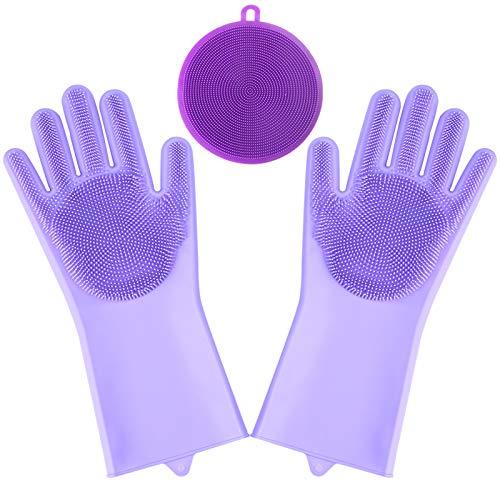 Viesap Dishwashing Kit, siliconen reinigingshandschoenen, magische vaatwashandschoenen met scrubber, herbruikbare scrub…