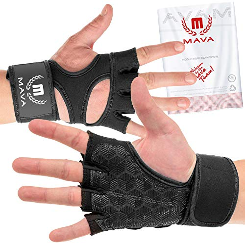 Cross Training Gloves with Wrist Support for Gym Workouts, WOD, Weightlifting & Fitness- Silicone Padded Workout Hand Grips Against Calluses with Integrated Wrist Wraps by Mava (Black, X-Large)