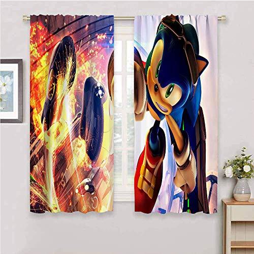 Panel de cortina con bolsillo para barra Sonic the Hedgehog con aislamiento térmico y bolsillo para barra de cortina para oscurecimiento para sala de estar (42 x 63 pulgadas)