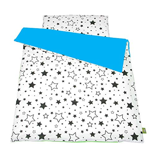 Balbina Reversible baby bed linen set, flower duvet cover, 100 x 135 cm, pillowcase 40 x 60, 2 pieces, 100% cotton with zip (black stars/turquoise).