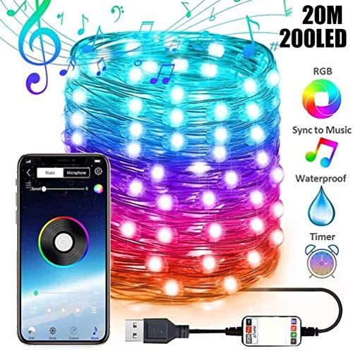Stringa di luci LED Bluetooth USB per decorazione albero di Natale, app telecomando scolorimento, per Natale, Natale, festa di nozze, decorazione ornamenti (20m 200led)