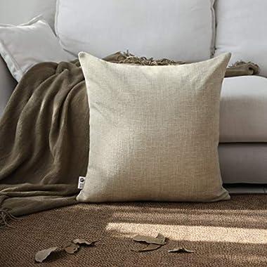 Kevin Textile Decor Lined Supersoft Faux Linen Square Throw Cushion Cover Sham Pillowcase, Hidden Zipper, 18x18 inch(1 Piece, Natural Linen)
