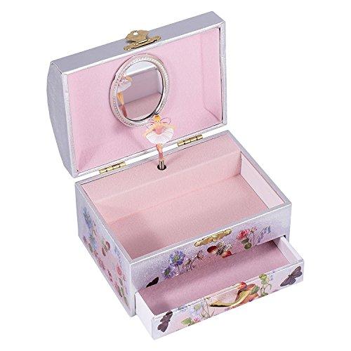 Silver and Pink Fairy Ballerina Swan Lake Music Jewelry Box