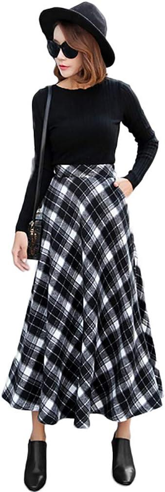 Nantersan Women's Flare Long お見舞い Plaid Autumn Warm 店 High Skirt Winter