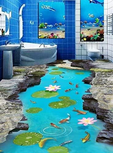 Zelfklevende 3D Aangepaste Mountain Fish River View Muursticker Zeesterren Badkamer Vloeren Schilderen Fotobehang voor Muren 400cm(L)x280cm(W)