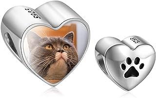 bagnato in oro giallo//bianco gattino Charm cuore con gatto argento 925 /%