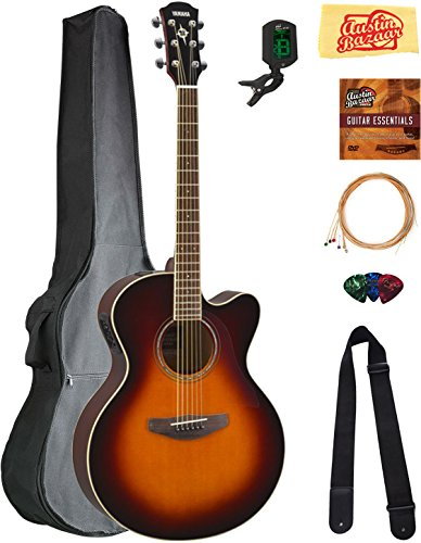 Yamaha CPX600 Acoustic-Electric Guitar - Old Violin Sunburst Bundle with Gig Bag, Tuner, Strings, Strap, Picks, Austin Bazaar Instructional DVD, and Polishing Cloth