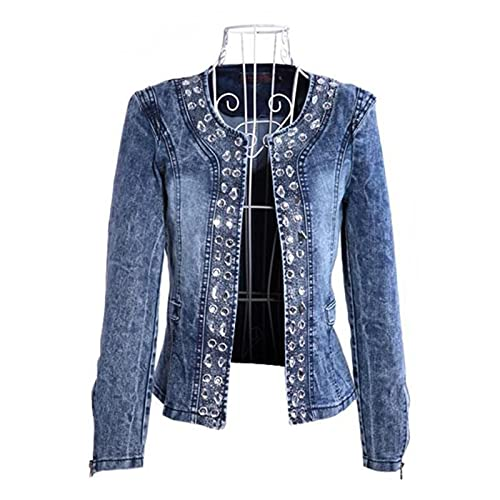 UKKO Jeansjacke Frühling Herbst Denim Jacken Vintage Diamanten Freizeitmantel Denim Jacke Basisteile Oberbekleidung Jeans-Blue,S
