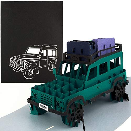 PaperCrush® Pop-Up Karte Geländewagen - 3D Geburtstagskarte, Handgemachte Grußkarte für Männer, Abenteuer Urlaub, Roadtrip, Rundreise, Safari - Handgemachte Vatertagskarte inkl. Umschlag