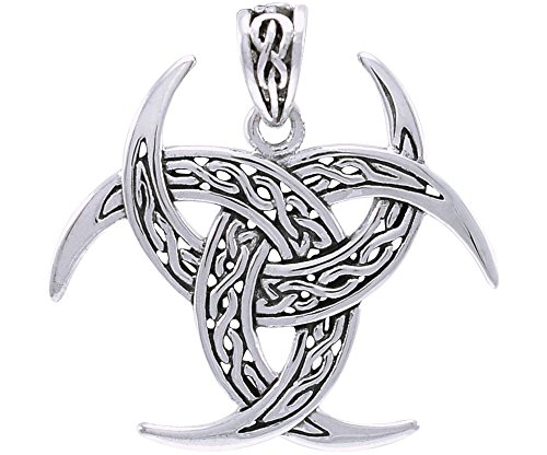 Jewelry Trends Crescent Horn Celtic Triple Moon Viking Sterling Silver Pendant