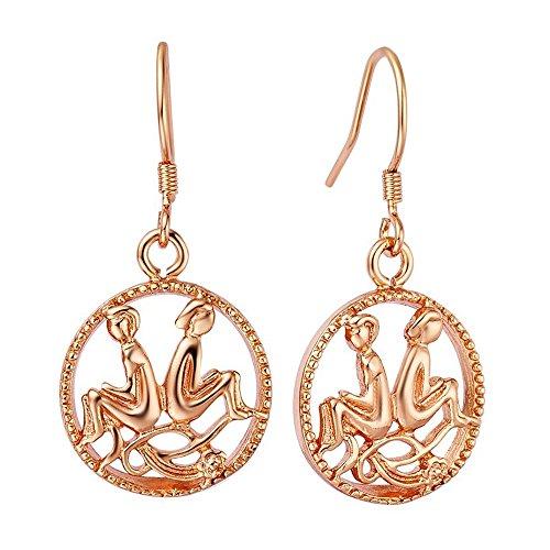 Sternzeichen-Ohrringe Zwillinge, Damen Ohrhänger mit Sternzeichen Ohrstecker Autiga® rosègold