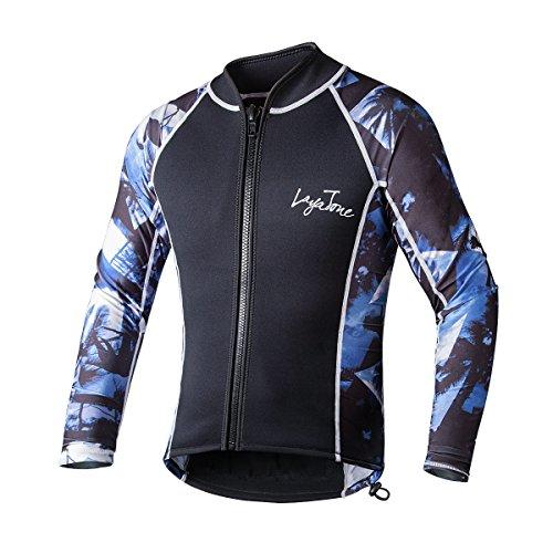 LayaTone Chaqueta de Buceo Hmbres Mujer Traje de Neopreno 3mm Traje de Surf Protección UV Top de Buceo Kaya Natación Nadando Submarinismo Wetsuit Mujer Camisa de Buceo Hombres (Mangas de Lycra)