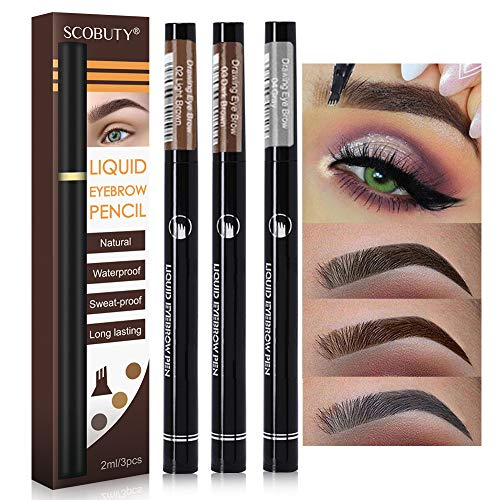 Eyebrow Tattoo Pen, Microblading Eyebrow Pencil, Liquid Eyebrow Pencil, Brow Gel and Tint Dye Cream for Eyes Makeup, Long-lasting Waterproof, Creates Natural Looking Brows Effortlessly, 3pc