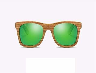 Fashion UV 400 Protection Resin Lens HD Visual Strong Impact\ Polarized Light Green Unisex Handmade Zebrano Wooden Frame Sunglasses Retro (Color : Green)