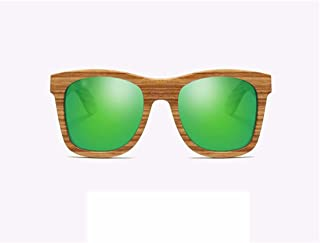 Fashion UV 400 Protection Resin Lens HD Visual Strong Impact\ Polarized Light Green Unisex Handmade Zebrano Wooden Frame Sunglasses Retro (Color : Green)