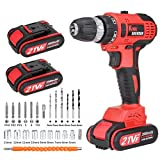 Brushless Cordless Drill Driver with 2 Batteries, 80Nm 21V, 2000mAh Lithium Battery Pack