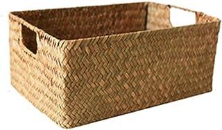 WZHZJ Hand-Woven Rectangular Rattan Wicker Storage Basket Fruit Tea Snack Bread Picnic Basket Cosmetic Storage Box Houseware