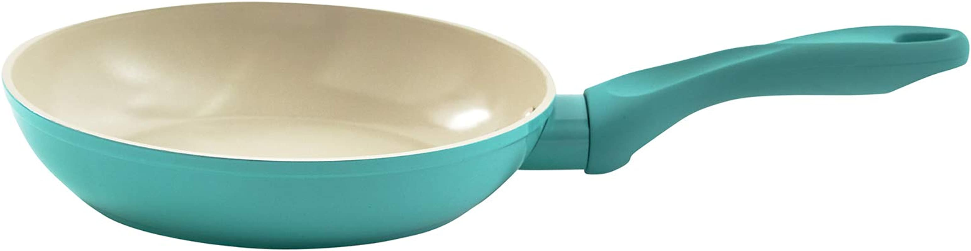 IMUSA USA IMU 30050 Forged Saut Pan With Soft Touch Handle Ceramic Nonstick Interior 8 Inch Teal