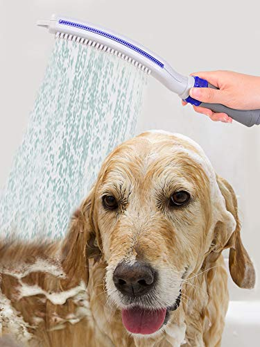 serimer Upgrade Pet Wand Pro Shower Sprayer Attachment Woof Washer with Dog Brush Flow Control for Dog Home Cleaning Bath Grey/Blue