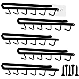 Evadow 5Pack 6-Hook Under Cabinet Mug Hook, Metal Iron Kitchen Storage Utensil Hooks with Free Nails and Screws, Black Wall Organizer Shelf Rack for Mugs, Cups, Teapot and Kitchen Utensils Display