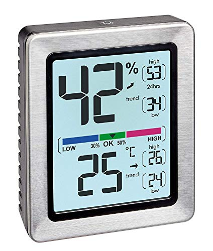 TFA Dostmann 30.5047.54 EXACTO Digitales Thermo-Hygrometer, besonders genau mit Präzisionssensor (Edelstahl mit Batterie)