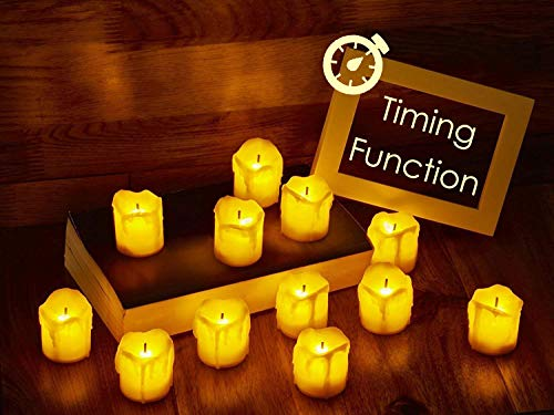 LED Flameless Votive Candles with Timer, 6 Hours on and 18 Hours Off - Battery Operated Candles for Wedding, Valentine's Day, Christmas, Halloween Decorations (12-Pack)