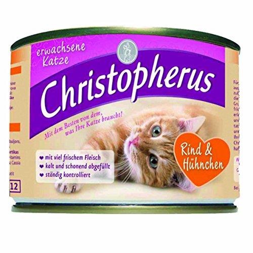 Christopherus Fleischmahlzeiten, Rind plus Hühnchen, Nassfutter, Erwachsene Katze, 6er Pack (6 x 200 g)