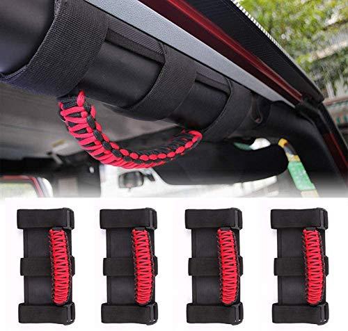 AMOSTBY 4 x Roll Bar Grab Handles Grip Handle for Jeep Wrangler YJ TJ JK JL & Gladiator JT 1955-2020, Interior Accessories (Black-Red)