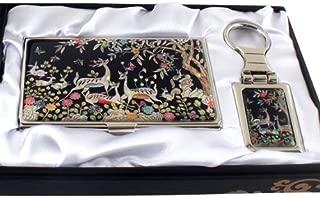 Mother of Pearl Deer Design Keychain Key Ring Holder Business Credit Name Card Holder Slim Id Money Case Set