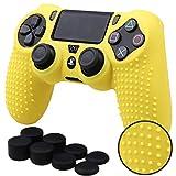 Pandaren® TACHONADO de silicona Fundas protectores de piel antideslizante para el PS4 Mando x 1 (amarillo) + FPS PRO thumb grip x 8