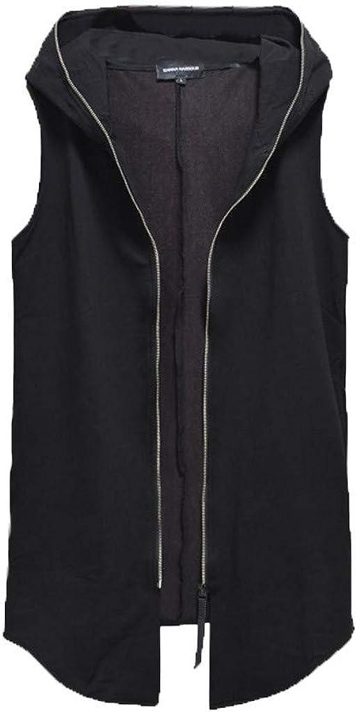 iQKA Men's Fashion Black Vest Casual Zipper Sleeveless Hoodie Jacket Big&Tall Coat Outwear Blouse M-4XL