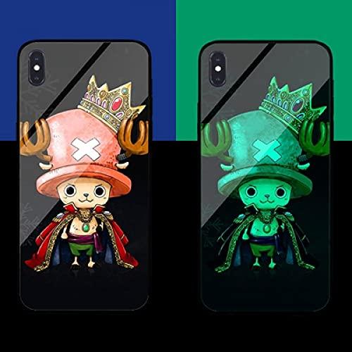 Carcasa de Telefono,Estuche para iPhone con Cordón Funda para Teléfono con Brillo Nocturno Anime 3D Serie One Piece Carcasa de Vidrio Templado Antifricción Compatible con iPhone XS