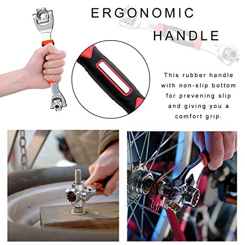 Tiger Wrench - Universal Socket Wrench 360 Degree Swivel Rotating Head, Multifunctional Wrench Spanner Tool Works with Spline Bolts, 6-12-Point, Torx, Square Damaged Bolts for Home and Car Repair