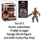 COMICTOYZ Funko Collector Set Freddy Krueger 8 bit Pop Vinyl and Savage World Action Figure