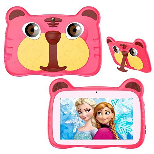 Kids Tablet, Android 10.0 Tablet for Kids, 7 inch 1280x800 HD IPS Eye Protection Screen, 1GB RAM+16GB ROM, with WiFi, Bluetooth, Dual Camera & Parental Control, Best Gift for Boys and Girls (Pink)