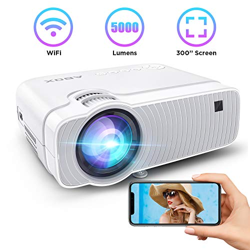 Bomaker Mini Projector, Upgrade 5000Lux Portable HDMI WiFi Bluetooth Projector, 1080P Supported,250