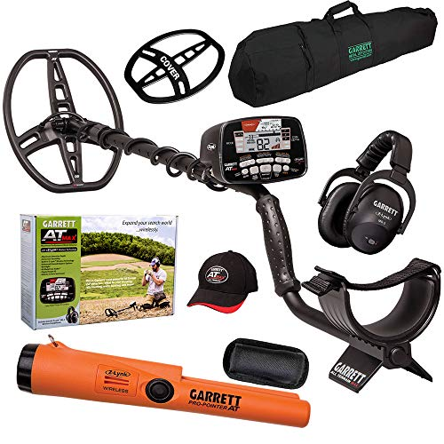 Garrett AT MAX Metal Detector with Pro-Pointer at Z-Lynk and Carry Bag, Hat