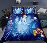 Cinderella Princess Bedding Set Twin for Girls ,2 Piece Kids Fairy Duvet Cover, Blue Cinderella Comforter Cover ,Soft Mircofiber Bed Cover Sets (1 Duvet Cover +1 Pillow Case )