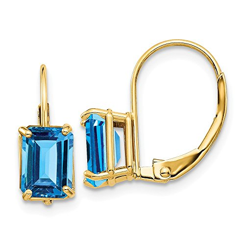 14k Yellow Gold 7x5mm Blue Topaz Leverback Earrings Lever Back Drop Dangle Gemstone Prong Fine Jewelry For Women Gifts For Her