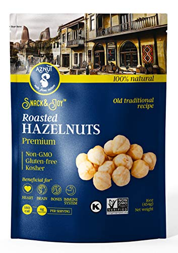 AZNUT Roasted Hazelnuts Natural Non-GMO Certified, Unsalted, Dry Roasted, Kosher Certified, Resealable Bag 6 oz