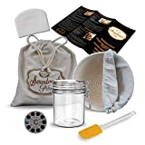 Sourdough Starter Jar, 9' Banneton Sourdough Bread Proofing Basket with Liner, Linen Bread Bag,...