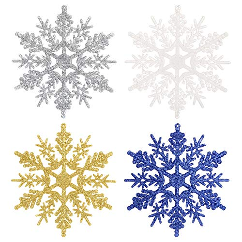 Aitsite 36 PCS di Fiocchi di Neve Glitterati, Artigianato da Appendere in plastica da 4 Pollici per Decorazioni Natalizie per Feste di Matrimonio(9 Oro + 9 Argento + 9 Bianca + 9 Blu Scuro)