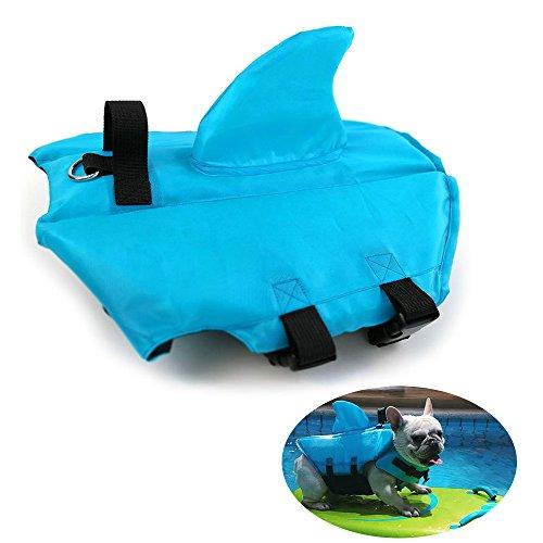HanDingSM Hundeschwimmweste,Haustier-Schwimmweste,Rettungswesten für Hunde, Hunde Shark Pattern Schwimmweste (M, Orange)