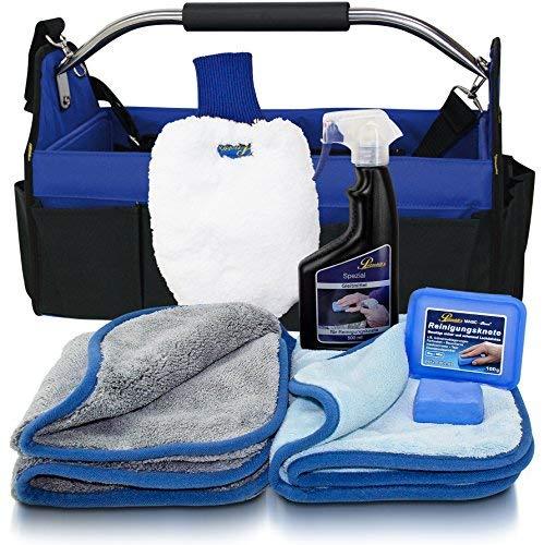 Petzoldts Tasche, mit Microfaser Waschhandschuh, Trockentuch, Poliertuch, Reinigungsknete-Gleitmittel Set und Autopflegetasche
