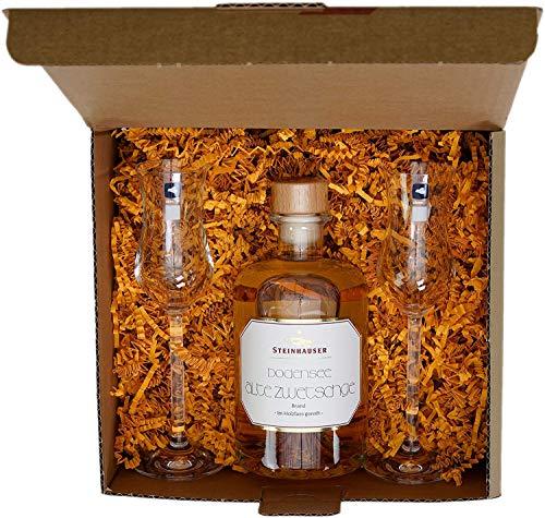 Geschenkset Steinhauser Bodensee Alte Zwetschge (0.5 l) in der Apothekerflasche mit 2 Leonardo Gläsern | IN GESCHENKVERPACKUNG! Tradition, Handwerk, Genießer, Original